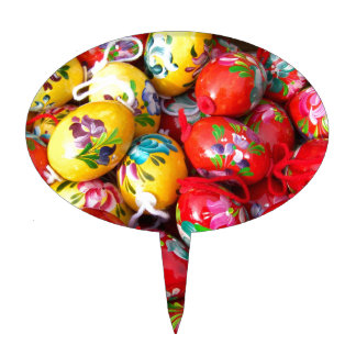 Hand-painted-Easter-eggs Cake Topper