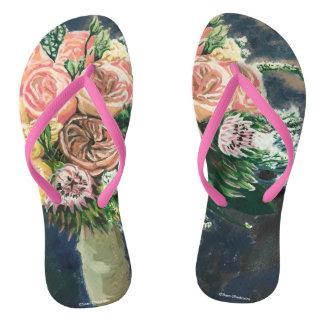 Hand Painted Floral Bouquet Women's Flip Flops