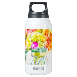 Hand painted flowers insulated water bottle