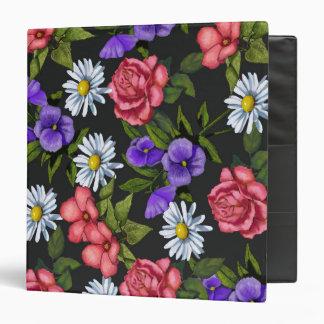 Hand Painted Flowers, Roses, Daisies, Pansies 3 Ring Binder