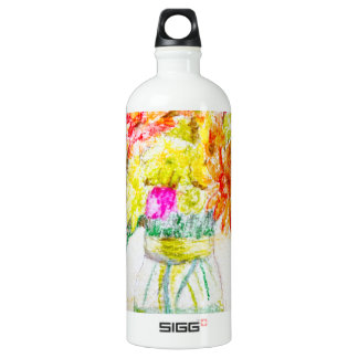 Hand painted flowers SIGG traveler 1.0L water bottle