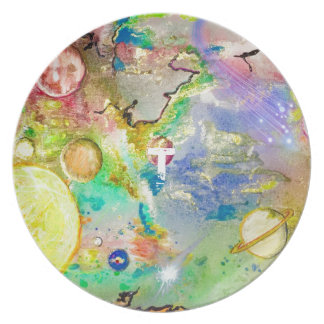 Hand Painted Galaxy Melamine Plate