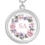 Hand-Painted Garlands of Flowers Monogramed Silver Plated Necklace