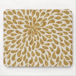 Hand Painted Gold Faux Foil Flower Petal Modern Mouse Pad