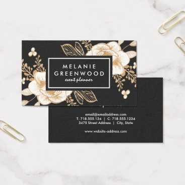 Professional Business Hand Painted Gold Painted Flowers Business Card