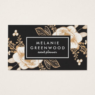 Hand Painted Gold Painted Flowers Business Card
