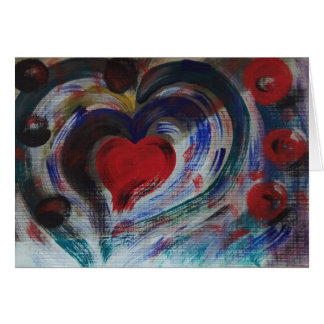 Hand Painted Heart Note Card - Rumi Love Poem