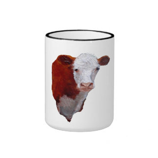Hand Painted: Hereford Cow: Animal, Farm, Ranch Ringer Coffee Mug