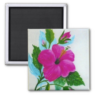 Hand Painted Hibiscus flower Magnet