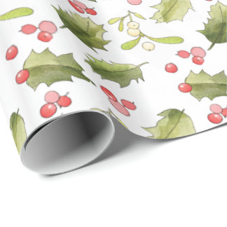 Hand Painted Holly Berries Holly Leaves Mistletoe Wrapping Paper