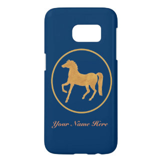 Hand-painted Horse, Gold-effect on Deep Blue Samsung Galaxy S7 Case