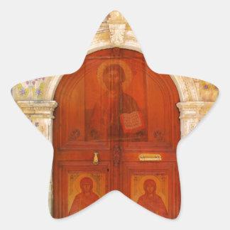 Hand Painted Jesus Christ Icon Door Greek Orthodox Star Sticker