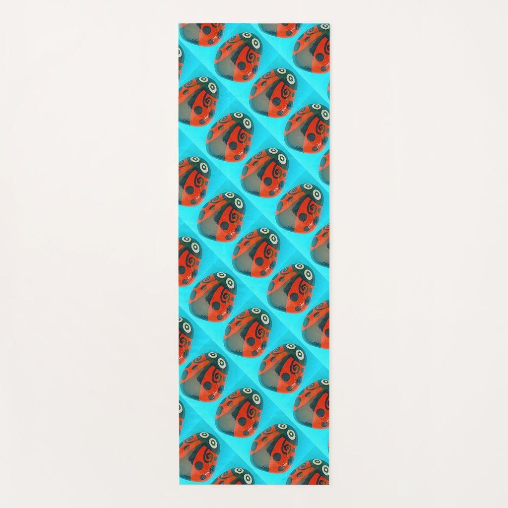 Hand-painted Ladybugs, tiled yoga mat, colorful Yoga Mat