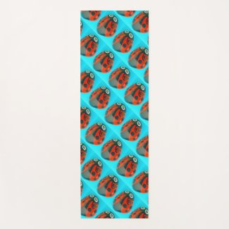 Hand-painted Ladybugs, tiled yoga mat, colorful Yoga Mat