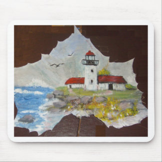 HAND PAINTED LIGHTHOUSE MOUSE PAD