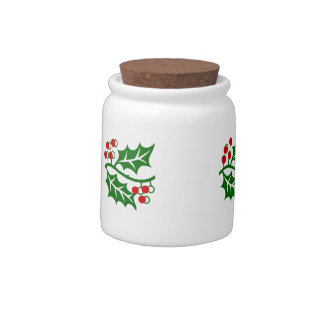 Hand Painted Look Holly Jar Candy Dishes