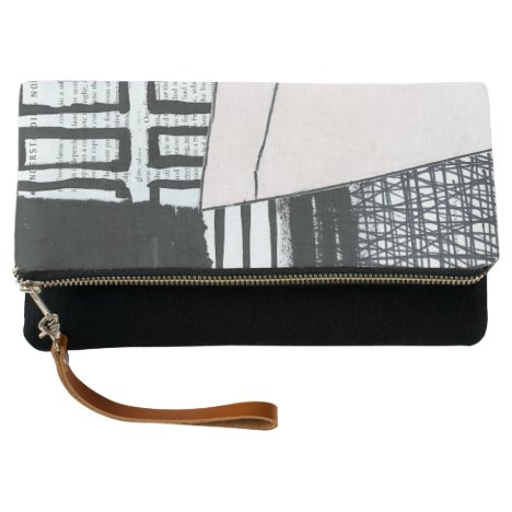 Hand Painted Minimal Abstract Black White Pink Clutch