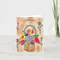 Hand Painted Mother's Day Flower Basket Card