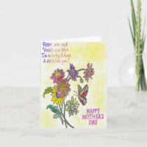Hand Painted Mother's Day Flowers with Butterfly Card