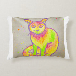Hand Painted Neon Cat Accent Pillow