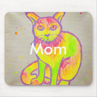 Hand Painted Neon Cat Mousepad