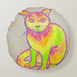 Hand Painted Neon Cat Round Throw Pillow