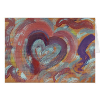 Hand Painted Note Card - Floating Reflecting Heart