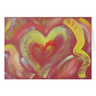 Hand Painted Note Card - Heart Flame