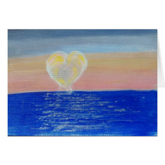 Hand Painted Note Card - Sun Setting With Love