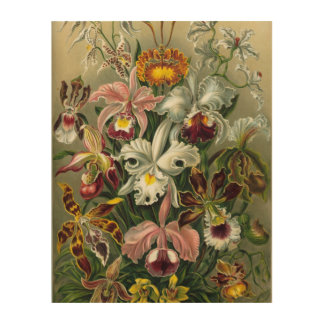 Hand Painted Orchids on-Wood Canvas Wood Wall Decor