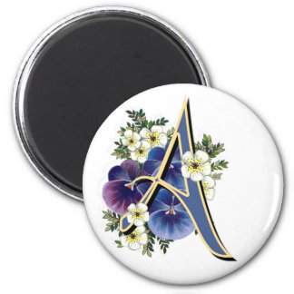 Hand Painted Pansies - IInitial - A 2 Inch Round Magnet