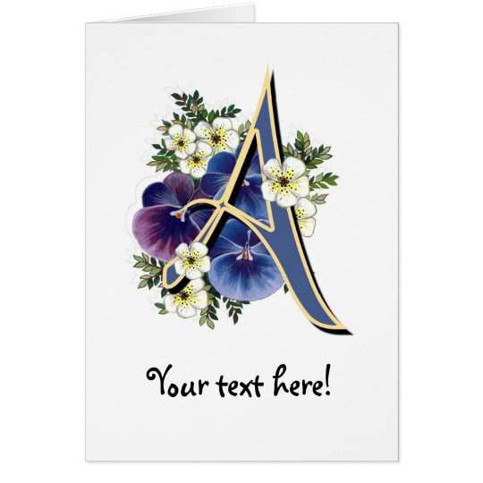 Hand Painted Pansies - IInitial - A Card