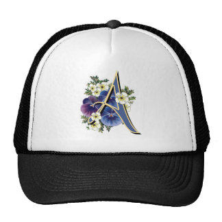 Hand Painted Pansies - IInitial - A Hat