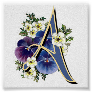Hand Painted Pansies - IInitial - A Poster