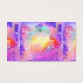 Hand painted pastel watercolor nebula galaxy stars business card