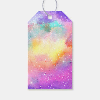 Hand painted pastel watercolor nebula galaxy stars pack of gift tags