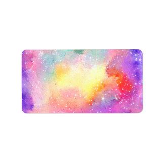 Hand painted pastel watercolor nebula galaxy stars label