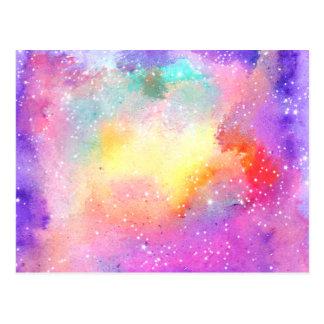Hand painted pastel watercolor nebula galaxy stars postcard