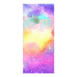Hand painted pastel watercolor nebula galaxy stars rack card