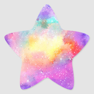 Hand painted pastel watercolor nebula galaxy stars star sticker