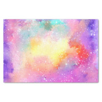 Hand painted pastel watercolor nebula galaxy stars tissue paper
