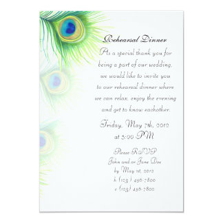 Hand Painted Peacock Feathers Rehearsal Dinner Card