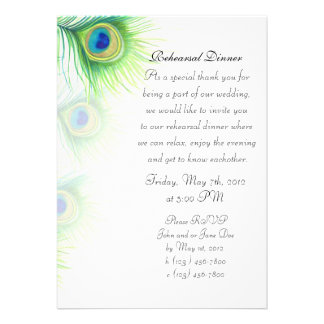 Hand Painted Peacock Feathers Rehearsal Dinner Personalized Announcements