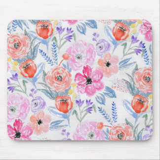 Hand painted pink coral watercolor flowers mouse pad