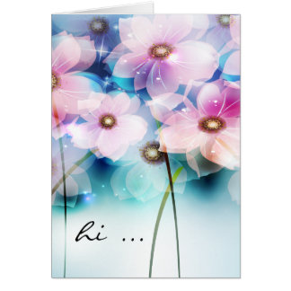 Hand Painted Pink Flowers  Notecard Cards