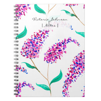Hand painted pink purple watercolor lilac flowers notebook