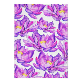 Hand painted pink purple watercolor lotus flowers poster