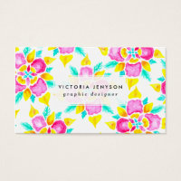 Hand painted pink yellow watercolor floral pattern business card