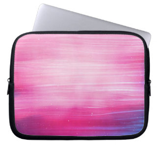 Hand Painted Pretty Pink And Purple Abstract Laptop Sleeve