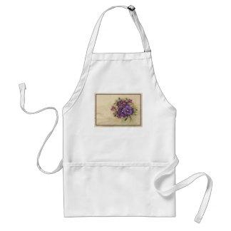 Hand Painted Purple Pansies Adult Apron